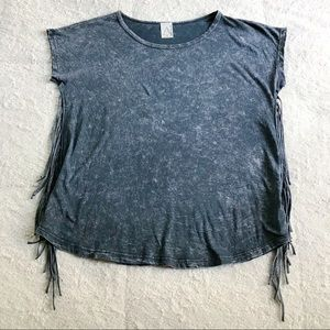 American Age Gray Bleach Affect Fringe Detail Top